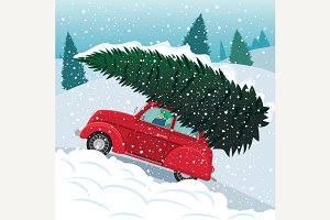 Retro car carries Christmas tree