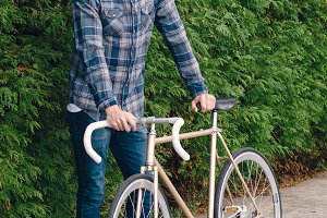 Hipster man and fixie bike