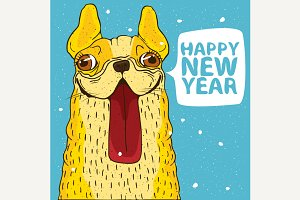 Smiling yellow dog Happy New Year