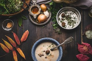 Chestnuts creamy soup bowl