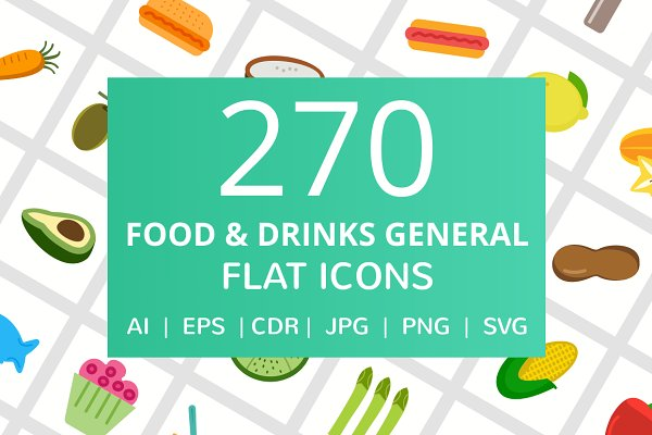 270 Food & Drinks General Flat Icon…