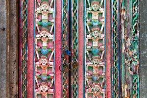 Balinese old teak wood door