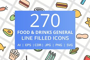 270 Food & Drinks Filled Line Icons
