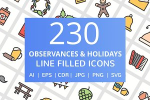 230 Observances Filled Line icons