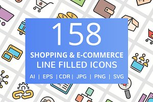158 E-Commerce Filled Line Icons