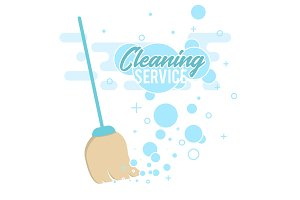 Cleaning service design concept with broom