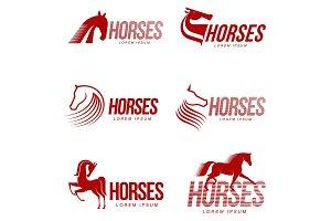 Horse profile graphic logo template