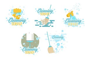 Cleaning service logos and symbols templates