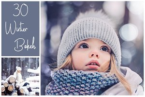 30 Winter Bokeh Overlays