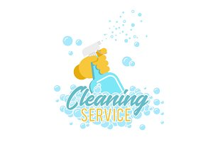 Cleaning service logo, label or symbol