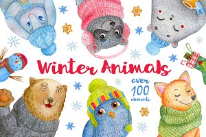 Watercolor Winter Animals + patterns