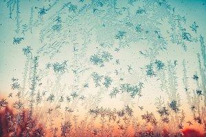 Iced blue snow flakes on window