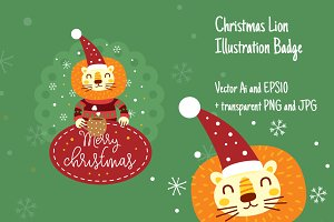 Christmas Lion Illustration Badge