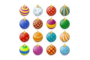 Set of isometric color Christmas balls on a transparent background. Stocking Christmas decorations. Stocking element New Years. Transparent vector object for design, mock-up.