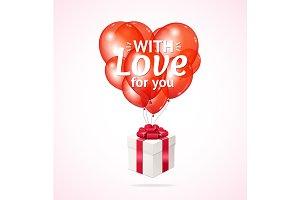 Balloon Present Box Valentine Day