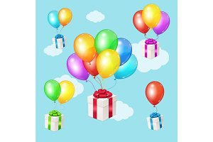 Balloons and Present Sky Background