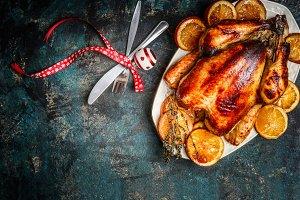 Christmas dinner with roasted turkey