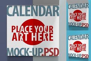 4 Mockups Square Calendar. PSD