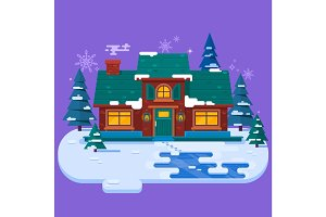 House in the winter evening, christmas card, flat vector illustration. Winter snowing background.