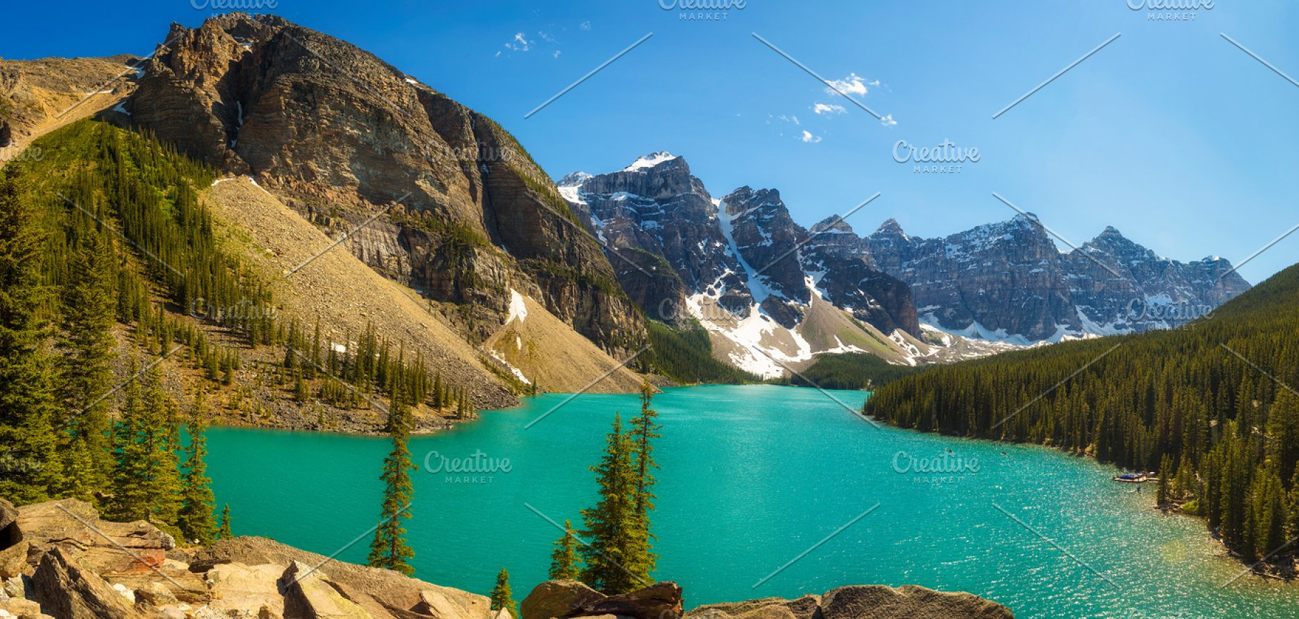 Sunny Day At Moraine Lake In Banff National Park Alberta Canada