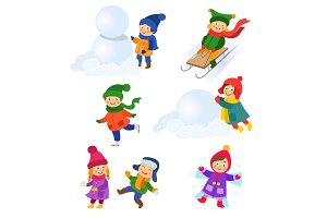 Set of kids, children enjoying winter activities