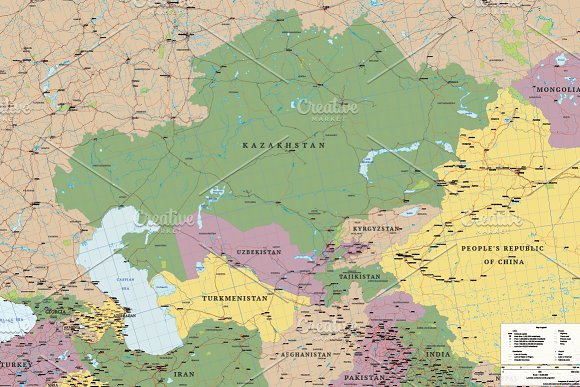 Political Map Of Central Asia.Political Map Of Asia Central Asia