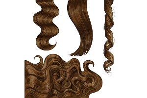 Shiny long brown, fair straight and wavy hair curls