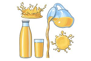 Splashing and pouring orange in bottle, glass, jug, vector illustration