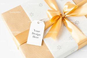 Gift tag mock up - Christmas box