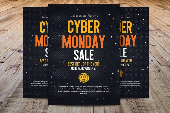 cyber monday sale flyer template flyer templates creative market