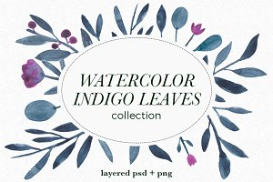 Indigo watercolor leaves