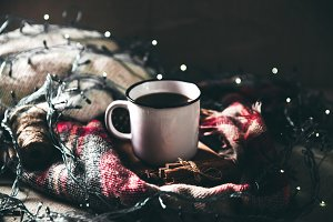 A cup of coffee. Christmas atmospher