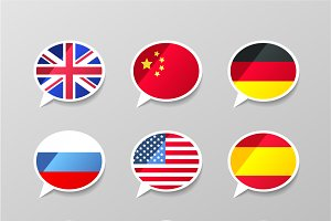 Speech bubbles with flags