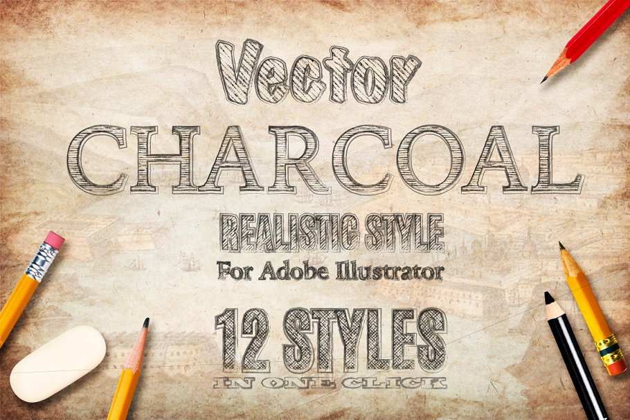 Charcoal pencil hand drawn AI style ~ Illustrator Add-Ons