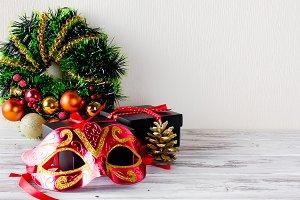 Xmas  wreath, black christmas  gift