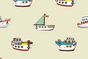 Seamless pattern with cartoon ship