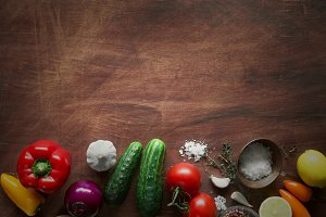 Fresh veggies on the wooden table
