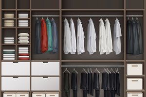 Brown cloakroom with shelves