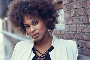 Black woman afro hairstyle