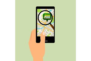 Smartphone with supermarket location map