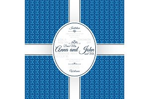 Invitation card with blue geometric pattern
