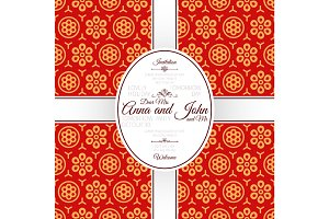 Invitation card with red chinese pattern