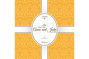 Invitation card with yellow arabic pattern