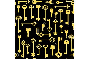 Vintage golden key seamless pattern