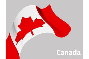 Background with Canada wavy flag