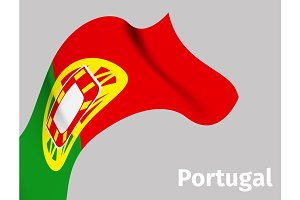 Background with Portugal wavy flag