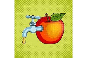 Apple fruit with tap pop art vector illustration
