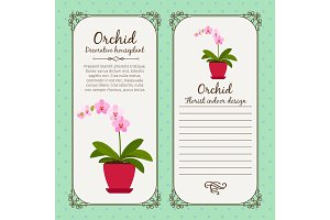 Vintage label with flower orchid