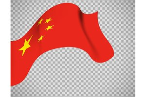 China flag on transparent background