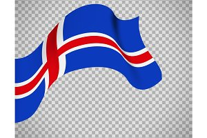 Iceland flag on transparent background